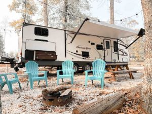 Our all new rental camper sleeps up to 10!   Enjoy camping with all the amenities!  Rental includes Happy Camper Campground fees, chairs, firepit, picnic table, lighting, Bluetooth speakers, outdoor sink, outdoor refrigerator and charcoal grill.