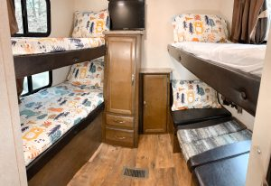 4 bunks feature 4 twin sized beds